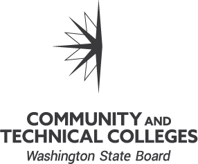 Washington State Board for Community and Technical Colleges black and white vertical logo