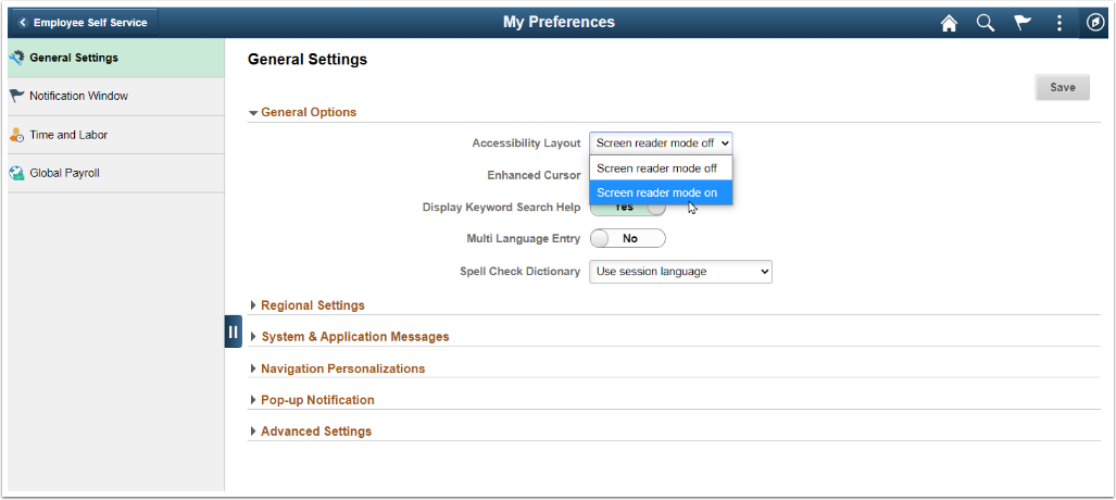 Screen shot showing expanded Accessibility Layout field with screen reader on/off options