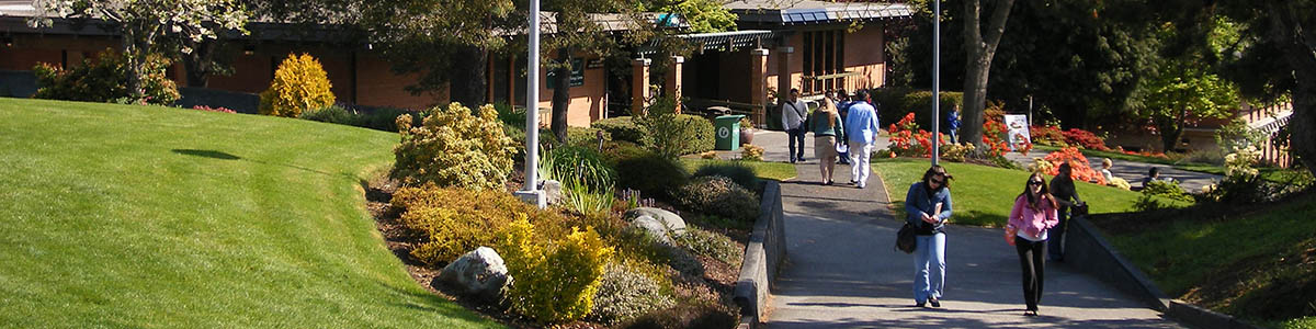 Students walk the beautifully landscaped campus of Shorline Community College