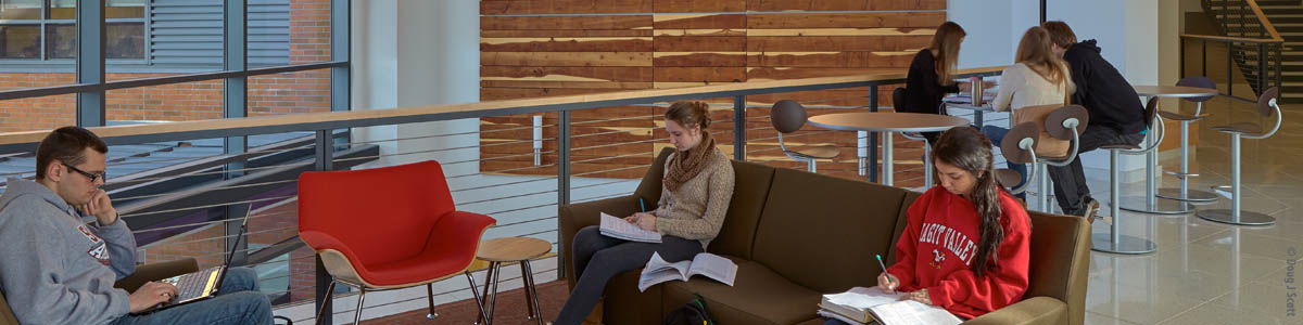 Students studying in lounge area of Skagit Valley College